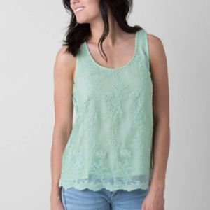 NEW BKE Boutique Mint Green Embroidered Tank Top S